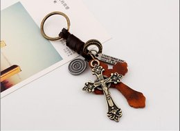 Decor Ornament Australia - Vintage PU Leather Keychain Alloy Cross Keyring Decoration Pendant Handbag Keychain Hanging Ornaments Decor key ring Chains