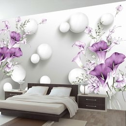 Calla Lily Paintings Australia - Modern Simple 3D Stereo Relief Purple Calla Lily Flower Mural Wallpaper Living Room Bedroom Romantic Decor Wall Painting Fresco