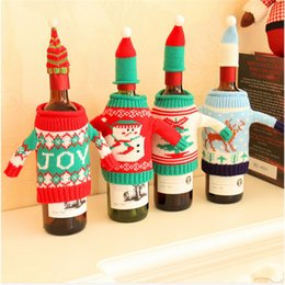 Wine Christmas Ornament Australia - Christmas Snowman Wine Bottle Cover Set Santa Claus Bottle Sweater With Hats Xmas Home Party Ornament