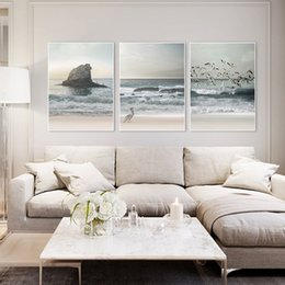 ocean canvas print art NZ - Nordic Style Wall Art Ocean Canvas Painting Sea Posters and Prints Beach Poster Wall Picture for Living Room Coastal Decor