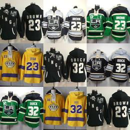 $enCountryForm.capitalKeyWord Australia - Hot Sale Mens Los Angeles Kings 23 Dustin Brown 32 Jonathan Quick Black Green Yellow Best Quality Cheap Ice Hockey Hoodies