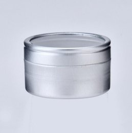 Chinese  10g Empty cosmetic sample aluminum cream container with window screw lid, small lipstick can lip balm jars manufacturers