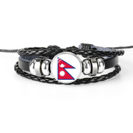 $enCountryForm.capitalKeyWord Australia - Nepal National Flag World Cup Football Fan Time Gem Glass Dome Bracelets Vintage Handmade Beaded Leather Rope Jewelry For Women Men Fit 2019