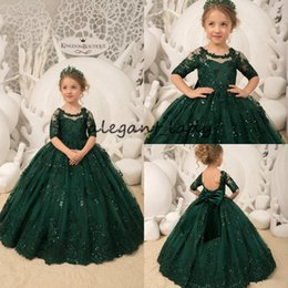 de5e0b0b59215 EmErald grEEn christmas drEss online shopping - Hunter Emerald Green Flower  Girls Dresses with Half Sleeve