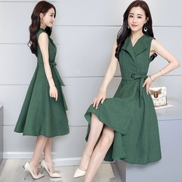 $enCountryForm.capitalKeyWord Australia - Summer 2019 New Large Size Female Decoration with Korean Irregular Medium and Long Sleeveless Cotton and Hemp Dresses