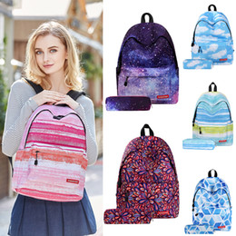 $enCountryForm.capitalKeyWord Australia - Galaxy Star Space Printed backpack+pencil bag 2 piece set 6 styles school backpack Mochila Shoe Bag for Travel shoulder bag BJY613