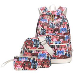 $enCountryForm.capitalKeyWord NZ - good quality 3 Pcs set Owl Print School Backpacks For Teenage Girls Large Capacity Canvas Travel Rucksack With Shoulder Bag Female