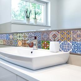Kitchen Set Package Australia - 5Pcs set 20*100cm Arabic Style Retro Tile Floor Sticker Waterproof PVC Wall Stickers For Kitchen Bathroom Home Decor Art Mural
