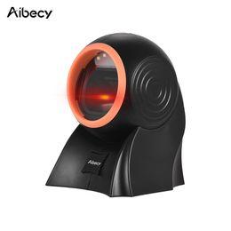 Escáner de código de barras QR QR 1D 2D manos libres Aibecy con cable USB Lector de código de barras omnidireccional Cabezal de escaneo ajustable