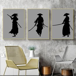 Japanese Canvas Prints Australia - 3pcs set Black White Japanese Samurai Silhouette Art Print Grey Background Poster Japan Warriors Wall Picture Canvas Painting