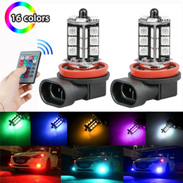 12v h3 bulb 2021 - 2PCS 12V 27SMD 5050 Multi-Color RGB LED Fog Lights Driving Bulbs Remote(Not include Battery) H11 H8 H4