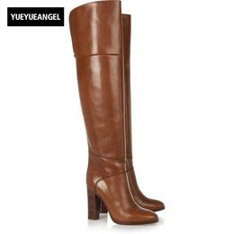 4b7f72067 Tallas grandes 46 Tacones altos sobre la rodilla Botas Mujer Bloque  elegante Invierno Gruesas Botas largas cálidas Cremallera lateral Pista alta