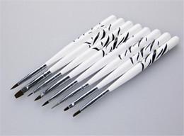 Hair Salon Set Australia - New Health 8Pcs Professional Zebra UV Gel Pen Brush Nail Art Acrylic 8 Size Flat Brush Pen Dotting Drawing Paint Salon Tool Set