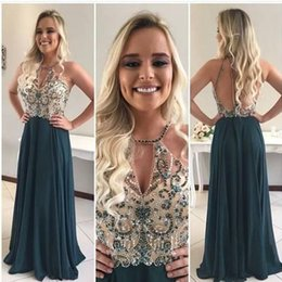 $enCountryForm.capitalKeyWord Australia - Hunter Green Backless Cheap A Line Prom Gown Colored Beaded Sequins Evening Dresses Plus Size vestido de noche Party Gowns