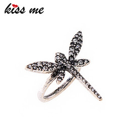 $enCountryForm.capitalKeyWord Australia - 3 Colors Rhinestone Dragonfly Rings For Women Chic Fashion Zinc Alloy Engagement Ring Female
