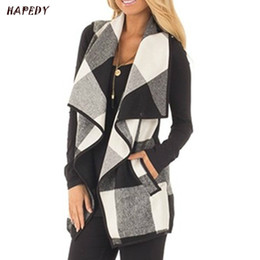 check cardigan NZ - Autumn Office Ladies Vest Sleeveless Turn Down Neck Open Front Jacket Check Plaid Cardigan Casual Women Long Waistcoat CA6999