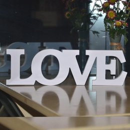 homes decorations photos NZ - High Quality White Love Letters Wooden Romantic Vintage Freestanding Wedding Home Table Decoration Marriage Love Wedding Sign Photo Props