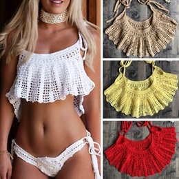 $enCountryForm.capitalKeyWord NZ - 2019 Women Crochet Cotton Sexy Bikini Cape For A Swimsuit Beach Handmade Cover Up Swimwear Hollow-Out Halter Top