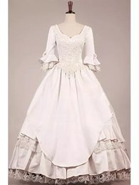 Discount victorian style ball gowns Hippie VICTORIAN WEDDING DRESS 2019 new style Vintage 3 4 long sleeves Wedding Dresses ball gown Lace Bridal Ball Gowns