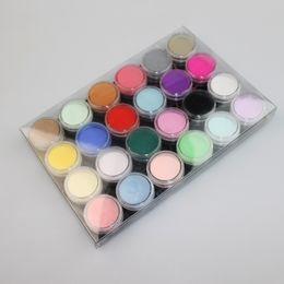 Ingrosso 12 18 24 colore ha impostato polvere acrilica polvere UV design 3D della decorazione di punte del chiodo del manicure della polvere di arte Dectoration fai da te Nail Strumenti polvere di cristallo