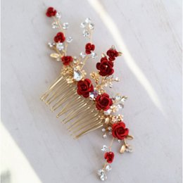 $enCountryForm.capitalKeyWord Australia - Jonnafe Red Rose Floral Headpiece For Women Prom Rhinestone Bridal Hair Comb Accessories Handmade Wedding Hair Jewelry Y19051302