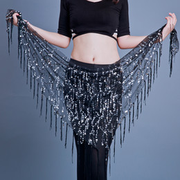 sequin fringe dance Australia - Women Belly Dance Hip Scarf Tribal Fringe Sequins Triangle Tassel Hip Scarves Bellydance Accessories 12 Colours