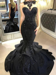 Wholesale dress up mermaid tails for sale – halloween 2019 New Arrival Jewel Neck Black Prom Dress Lace Applique with Sequins Women Evening Dress with Pearls Fish Tail Mermaid Prom Dresses