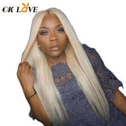 Silky Straight Blonde Wig Australia - OKLove Lace Front Silky Straight Human Hair Wigs Blonde Color 8-24 Inch Pre-plucked With Baby Hair Wigs