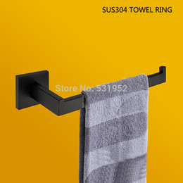 black matte ring Australia - High Quality SUS304 Stainless Steel Matte Black Finish Towel Ring Bathroom Towel Holder Rack Export To European Free Ship