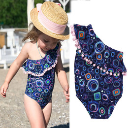 geometric one piece swimsuits 2019 - Children Swimwear INS baby girls Geometric print off shoulder Ruffle collar swimsuit 2019 summer Pompom tassel Bikini Ki