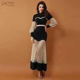 9c4e4d0627e Adyce 2019 New Luxury Celebrity Evening Party Dresses Women Gown Black Long  Sleeve Lace Hollow Out Mesh Maxi Club Dress Vestidos Y190507