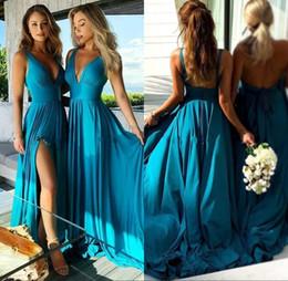 $enCountryForm.capitalKeyWord Australia - 2019 Ocean Blue Boho Bridesmaid Dresses Sexy Front Split Deep V Neck Maid of Honor Dresses BM0141