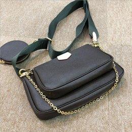 bolsa de cuero de alta calidad de las mujeres de múltiples pochette mujer cuerpo cruz cartera de mano tres en un diseñador de la marca en venta