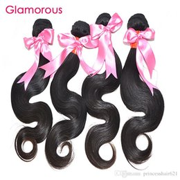 Top Quality Virgin Human Hair Canada - Glamorous Top Quality Body Wave Virgin Hair Weaves No Tangle No Shedding Brazilian Malaysian Indian Peruvian Human Hair Extensions 4 Bundles