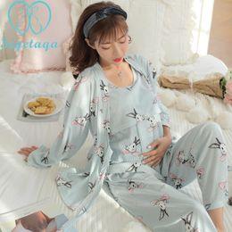 5eab04433e167 Nursing Pajamas NZ - 1389# 3 Pcs Set Cartoon Print Cotton Maternity Nursing  Nightwear Breastfeeding
