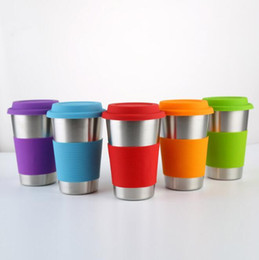 Mug foods online shopping - 5 Colors ml Stainless Steel Cup Single layer Beer Cups Coffee Mug With Food Grade Silicone Lids Without Straw CCA11149