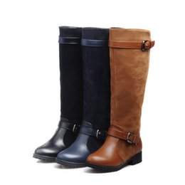 Shoes Knee High Straps Australia - Winter Low Heels Women Shoes Faux Leather Knee High Long Boots Buckle Strap Vintage Riding Boots Plus Size Zapatos De Mujer