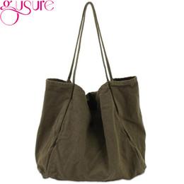 160c9a7a726f Gusure Canvas Tote Shoulder Bag Women Casual Mori Style Super High Capacity  Lady Handbag Pure Color Washed Cloth Shopping Bags