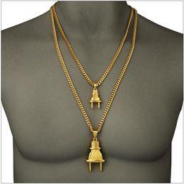 $enCountryForm.capitalKeyWord Australia - 2019 Newest Jewelry Metal 18K Goldon Plated Plug Pendants Twist Chain Necklace Hipsters Hip Hop Jewelry Men Women Lovers Bijoux Couple Joyas
