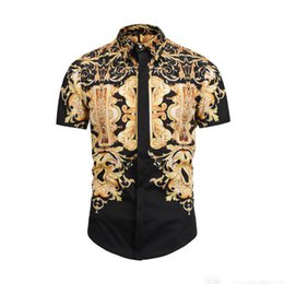 Wholesale 2019 Men s Dress Shirts France High Street Fashion Harajuku Casual Shirt Men Medusa Black Gold tiger leopard Fancy Slim Fit Shirts
