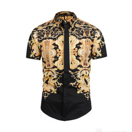 Dobby shirts men online shopping - 2019 Men s Dress Shirts France High Street Fashion Harajuku Casual Shirt Men Medusa Black Gold tiger leopard Fancy Slim Fit Shirts