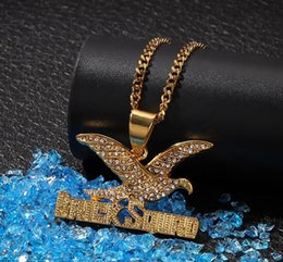 $enCountryForm.capitalKeyWord Australia - Mens Iced Out Gold Eagle Pendant 316L Stainess Steel Bling BrickSqurd Micro Pave Austrian Rhinestone Pendant Necklace