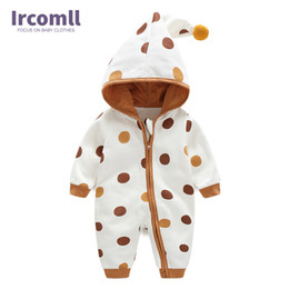 $enCountryForm.capitalKeyWord NZ - Newborn Baby Romper Kid Jumpsuit Hooded Infant Outfit Clothes Long Sleeve Polka Dot Baby Rompers Overalls Of Toddler Body Suit Y19050602
