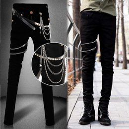 Discount chains for pants - Idopy Fashion Slim Fit Denim Pants Punk Style High Elastic Stretchy Zippers Gothic Button Jeans Trouser For Men With Cha