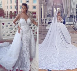 Wholesale wedding dress sayings resale online - Said Mhamad Lace Chapel Train Wedding Dresses Luxury Overskirt Style Mermaid Bridal Gowns Sheer Back With Appliques Buttons Vestido De Novia