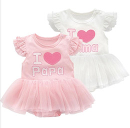 $enCountryForm.capitalKeyWord Australia - Infant Girls Dresses Summer Cotton Princess I Love Papa Mama Newborn Baby Girl Clothes Romper Dress fit 0-12 Months Babies