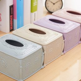 household boxes NZ - European style Rose carving Paper towel Storage Box Household Kitchen table Desk tissue box Paper storage box Kitchen Storage Organization