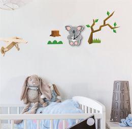 Koala Plastic Australia - 3D Cartoon Wall Clock sticker Cute Koala Modern Silent Clocks For Keep Good Sleeping DIY Wall Clocks Home Decor B2159