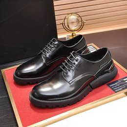 fast flats NZ - New Arrival Derby Shoes Dress For Male Wedding Formal Flats Round Toe Lacing Office Work Shoes British Style Men Leather Shoes Fast Delivery