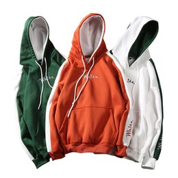 $enCountryForm.capitalKeyWord UK - Zuolunouba Autumn Winter Coat Long Sleeve Thick Hooded Casual Pullover Letter White Embroidery Splice Hoodies Women Sweatshirts